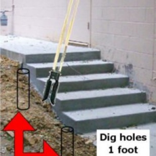 where to dig holes for in ground railing